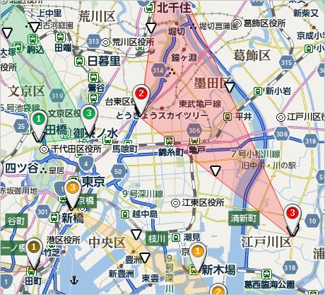 ドライバーの訪問エリアを地図上に表示